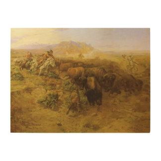 Indios del vintage, caza del búfalo por cm Russell Impresiones En Madera