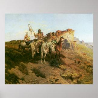 Indios del vintage, merodeadores de la pradera, póster