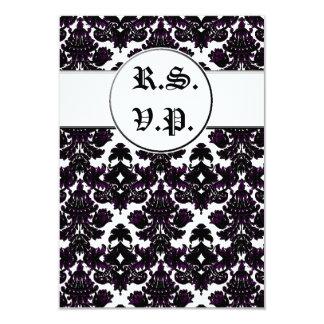 Indirecta clásica del damasco de la violeta (boda) invitación 8,9 x 12,7 cm
