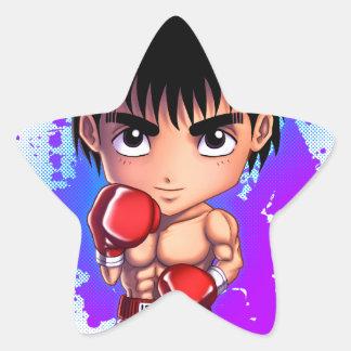 Individuo del boxeo pegatina en forma de estrella