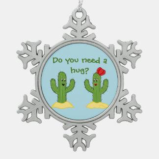 Individuo espinoso del cactus del dibujo animado adorno de peltre en forma de copo de nieve