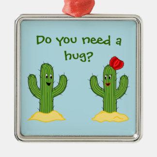 Individuo espinoso del cactus del dibujo animado adorno navideño cuadrado de metal