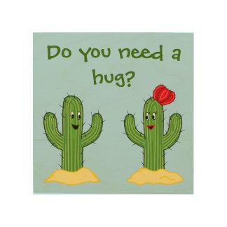 Individuo espinoso del cactus del dibujo animado cuadros de madera