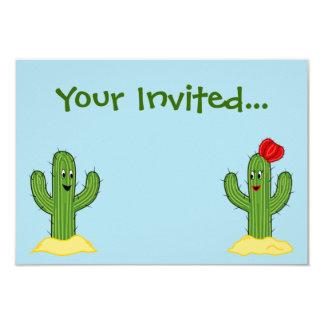 Individuo espinoso del cactus del dibujo animado invitación 8,9 x 12,7 cm