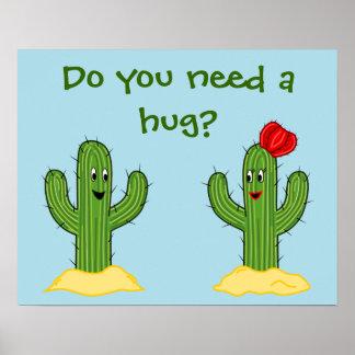 Individuo espinoso del cactus del dibujo animado póster