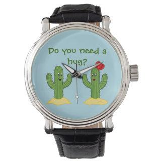 Individuo espinoso del cactus del dibujo animado reloj