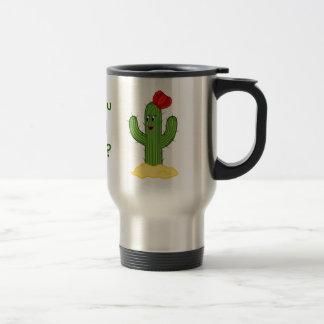 Individuo espinoso del cactus del dibujo animado taza de viaje de acero inoxidable