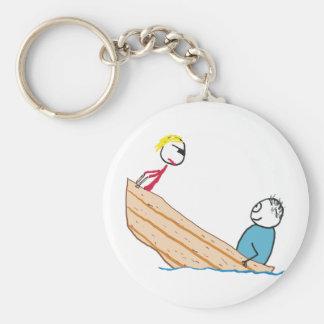 Individuo gordo en barco llavero
