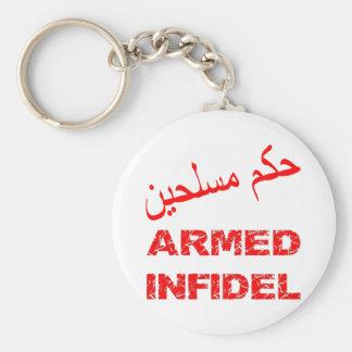 Infiel armado del árabe llavero redondo tipo chapa