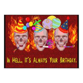 Infierno del cumpleaños invitación 12,7 x 17,8 cm