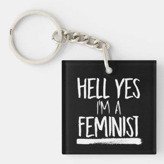 Infierno soy sí una feminista --  blanco - llavero