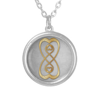 Infinito doble de los corazones del oro - collar 2