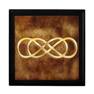 Infinito doble en oro en diseño del cuero de Brown Joyero Cuadrado Grande