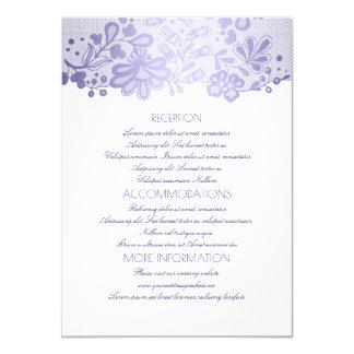 Información blanca elegante del boda del cordón de invitación 11,4 x 15,8 cm