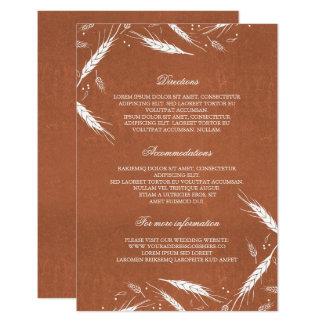 Información de detalles anaranjada del boda de la invitación 8,9 x 12,7 cm