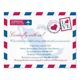 Información del viaje del boda del correo aéreo de invitación 10,8 x 13,9 cm