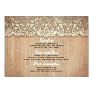Información rústica de madera y del boda del invitación 11,4 x 15,8 cm