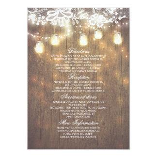 Información rústica del boda del cordón de las invitación 11,4 x 15,8 cm