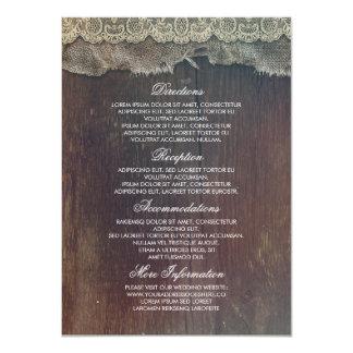 Información rústica del boda del cordón de madera invitación 11,4 x 15,8 cm