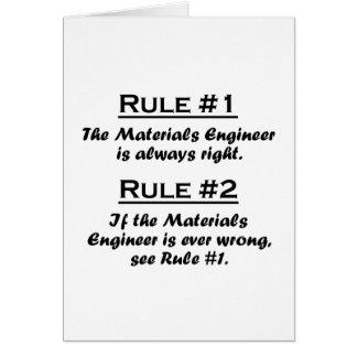 Ingeniero de los materiales de la regla tarjeta pequeña