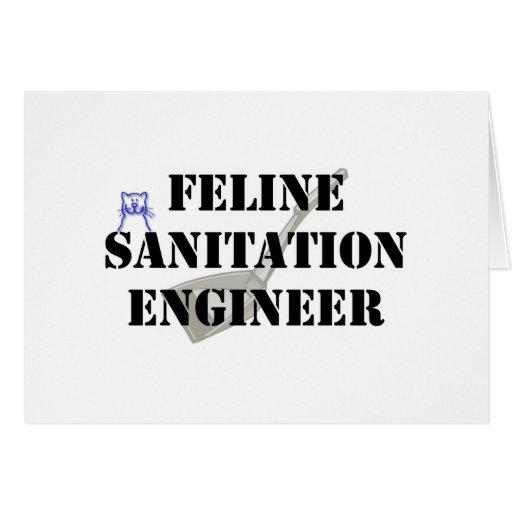 Ingeniero de saneamiento felino tarjetas