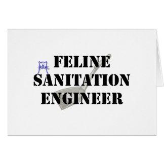 Ingeniero de saneamiento felino tarjeta de felicitación