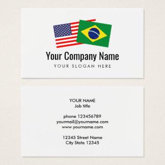 Inglés americano portugués brasileño de la tarjeta de visita