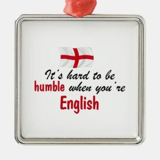 Inglés humilde adorno navideño cuadrado de metal