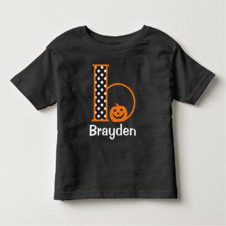 Inicial b del monograma de la calabaza de la camiseta de bebé