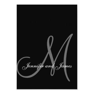 Inicial blanca negra elegante de las invitaciones invitación 12,7 x 17,8 cm