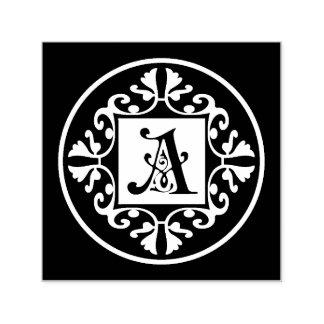 Inicial blanco y negro clásica A del monograma Sello Automático