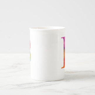 Inicial de la letra B - detalle pintado arco iris Taza De Porcelana