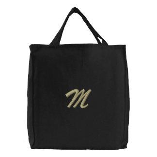 Inicial de la letra M del monograma del bordado Bolsas Bordadas