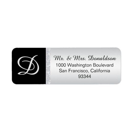 Inicial de plata de la letra del monograma del etiqueta de remitente