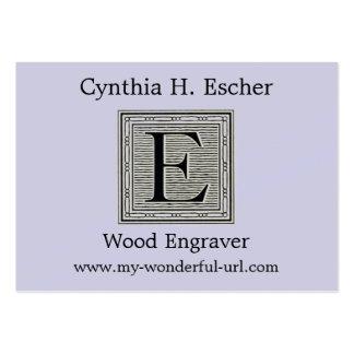 Inicial de Woodblock del grabar en madera de la Tarjetas De Visita Grandes