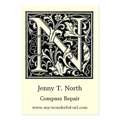 Inicial de Woodblock del grabar en madera de N de Tarjetas De Visita Grandes