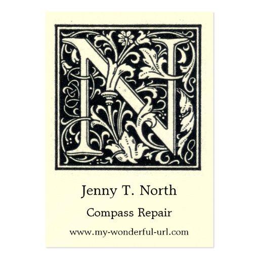 Inicial de Woodblock del grabar en madera de N de  Tarjetas De Negocios