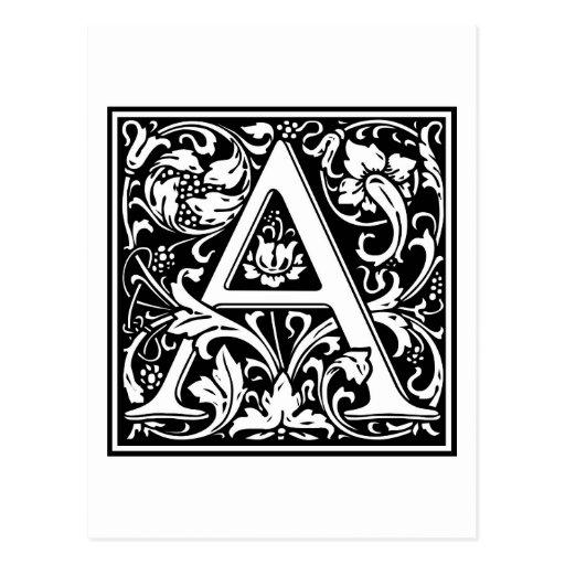 """Inicial decorativa """"A"""" de la letra Postales"""