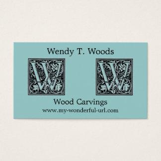 Inicial decorativa de Woodblock del grabar en Tarjeta De Negocios