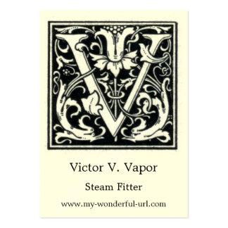 Inicial decorativa de Woodblock del grabar en Tarjetas De Visita Grandes