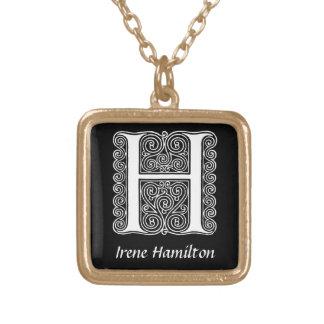 Inicial decorativa del monograma de la letra H Collar Dorado
