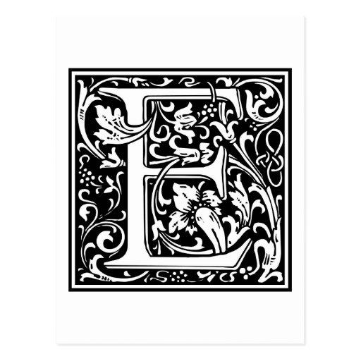 """Inicial decorativa """"E"""" de la letra Tarjetas Postales"""