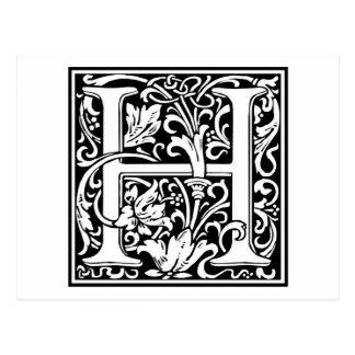 """Inicial decorativa """"H"""" de la letra Postal"""
