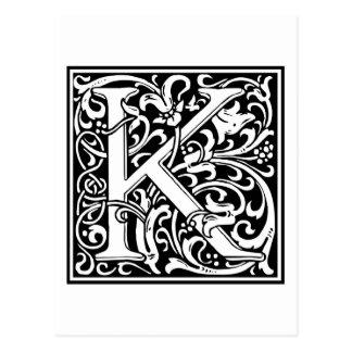 "Inicial decorativa ""K"" de la letra Tarjetas Postales"