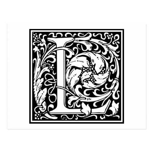 """Inicial decorativa """"L"""" de la letra Tarjeta Postal"""