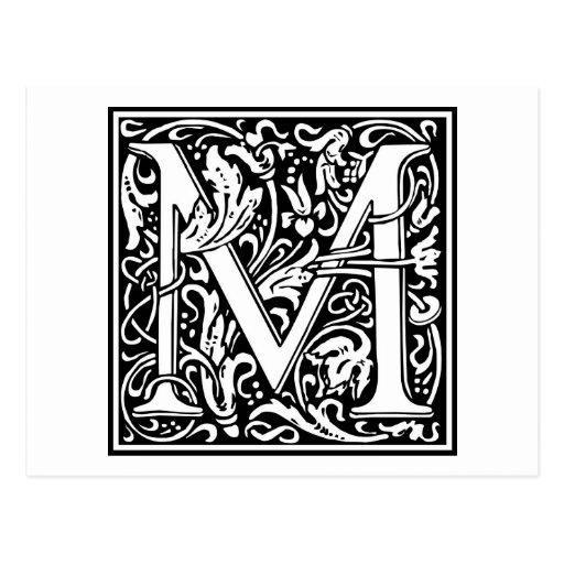 """Inicial decorativa """"M"""" de la letra Tarjetas Postales"""