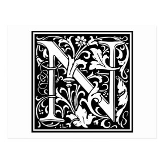 "Inicial decorativa ""N"" de la letra Tarjetas Postales"
