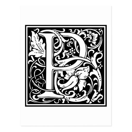 "Inicial decorativa ""P"" de la letra Postales"