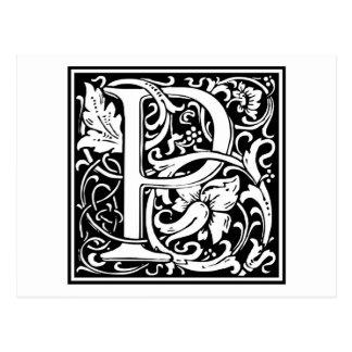 """Inicial decorativa """"P"""" de la letra Postal"""