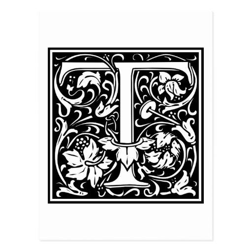 """Inicial decorativa """"T"""" de la letra Tarjetas Postales"""